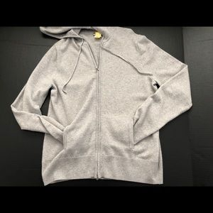 Italian Cashmere XL Zip Hoodie GRAY #18285 Dry Cle
